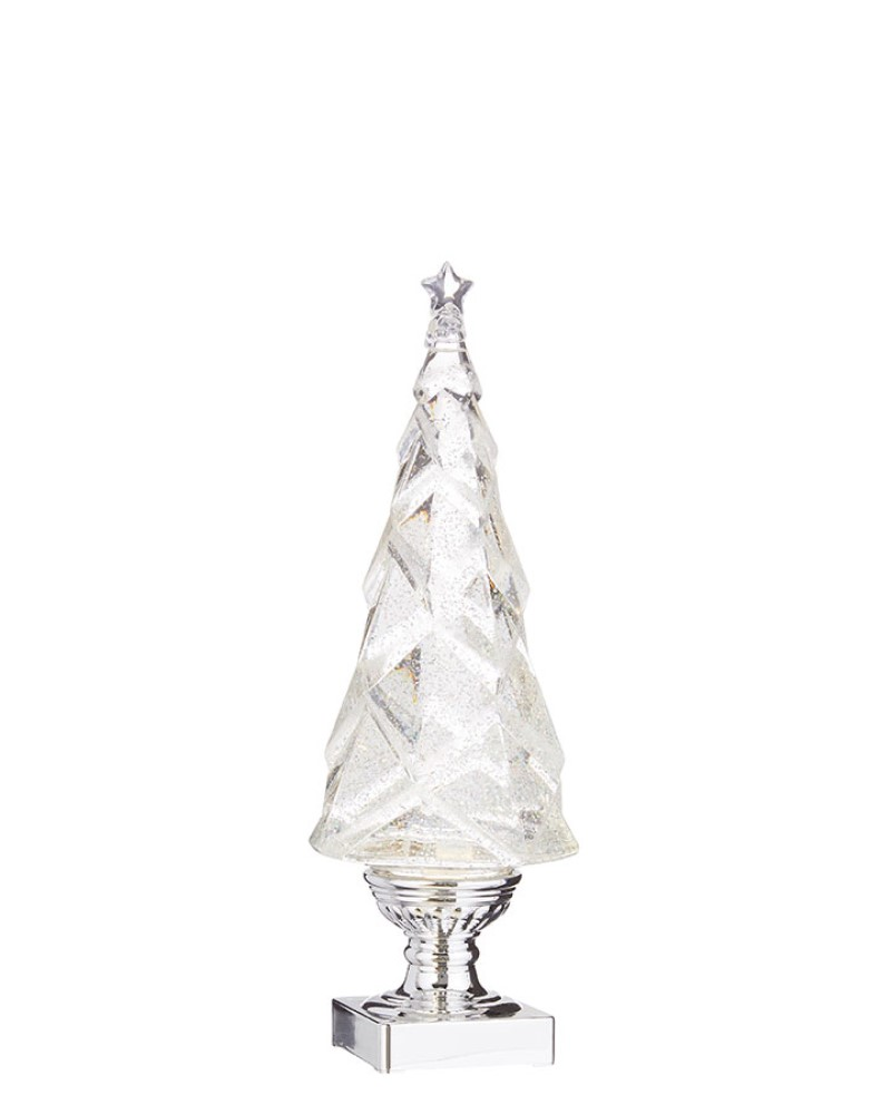 Geometric Lighted Tree with Swirling Silver Glitter 14""