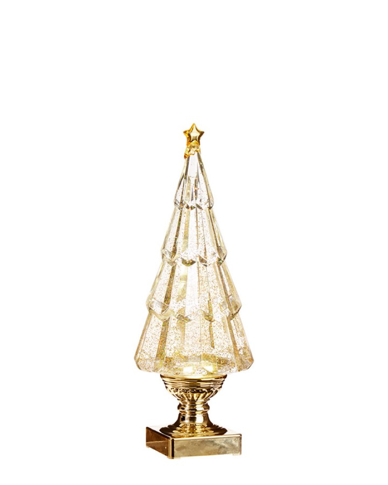 Lighted Tree with Swirling Gold Glitter 13.75""