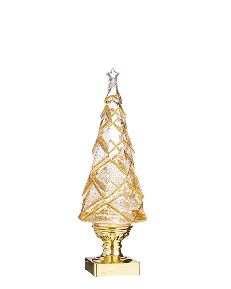 Geometric Lighted Tree with Swirling Gold Glitter 14""