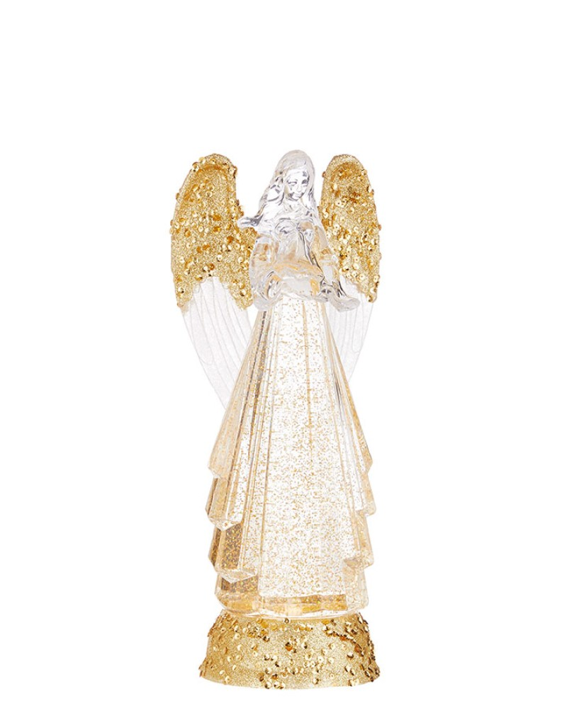 Angel figure with Lights and Swirling Glitter 13""