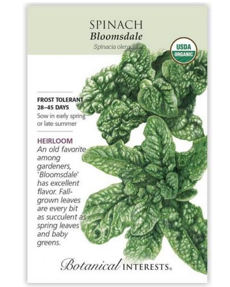 Bloomsdale Organic Spinach Seed Pack