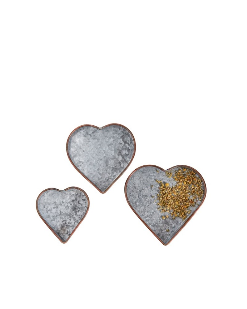 Heart Tray Galvanized Metal Large