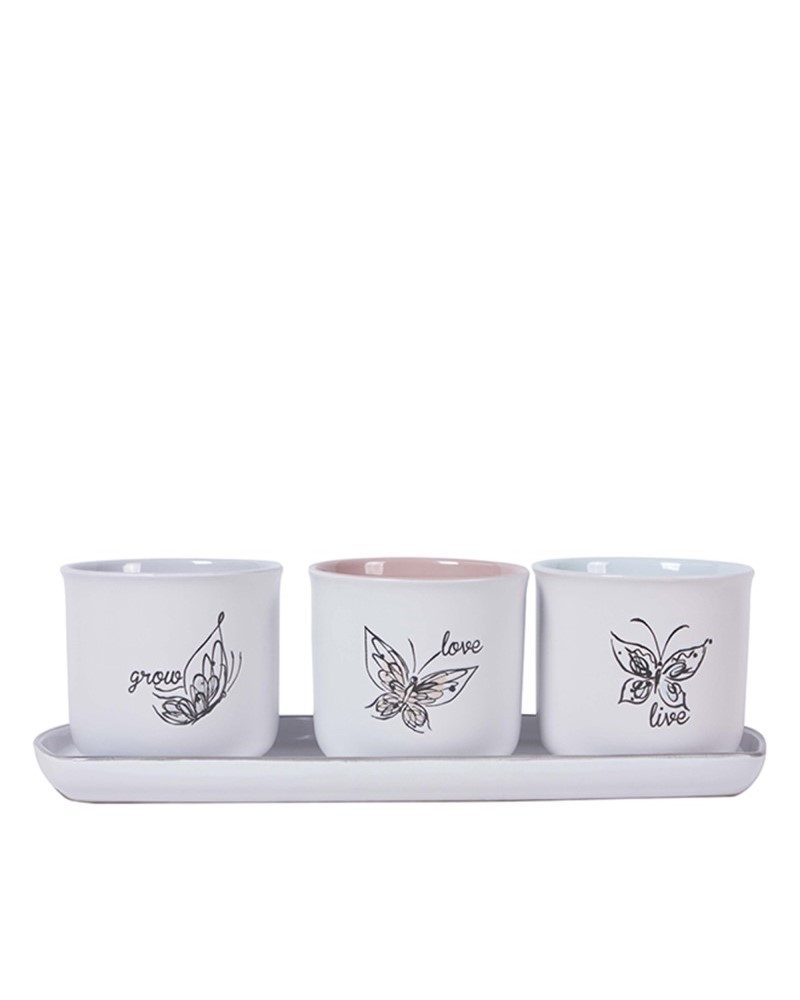 "Butterfly 4"" Pots with Tray"